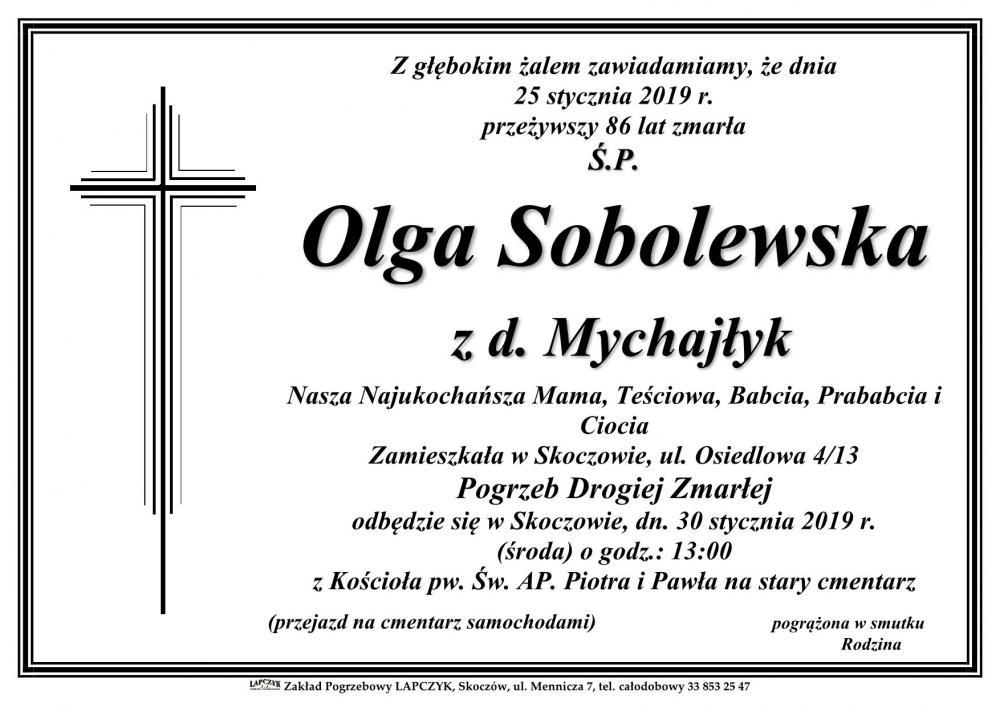 6034ca98a7c92 Zmarł Olga Sobolewska