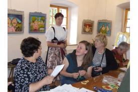 Warsztaty haftu na żywotku w Muzeum w Wiśle