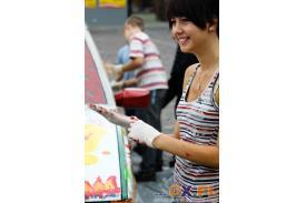 Malowanie \'\'Poloneza\'\' na rynku w skoczowie