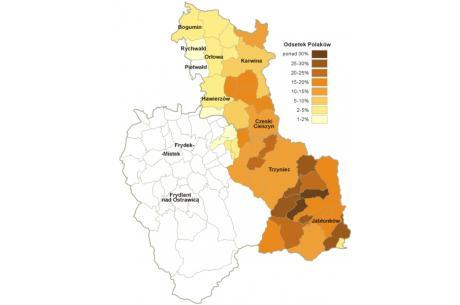 Odsetek Polaków w gminach (obec) okręgu Frydek-Mistek i Karwina. Dane na podstawie spisu powszechnego z 2011 r.; granice okręgów na 2011 r.; Autor: Aotearoa/Wikimedia commons