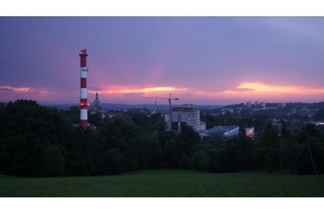 Zachód słońca nad Cieślarówką/ fot. JŚ