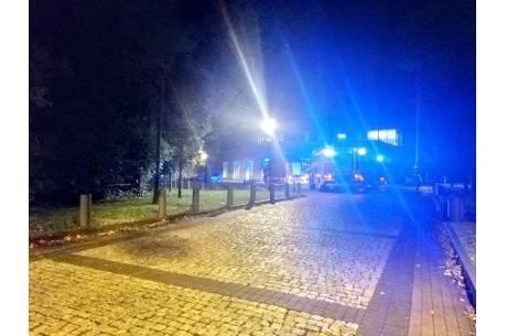 Interwencja dot. fałszywego alarmu na Hali Widowiskowo-Sportowej w Cieszynie/ 09.10.2019/ fot. KK