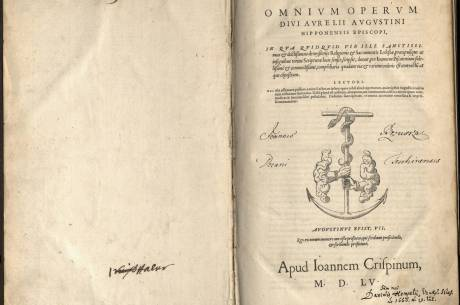 Wyklejka wydania streszczenia dzieł św. Augustyna wraz z notatkami rękopiśmiennymi oraz pieczęcią cieszyńskiej Biblioteki Dekanatu. Fot: KC