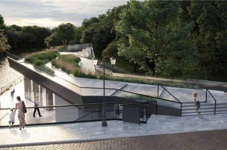 Jedna z wizualizacji projektowych dotycząca przebudowy byłego budynku Straży Granicznej w Cieszynie. Fot. mat. pras.