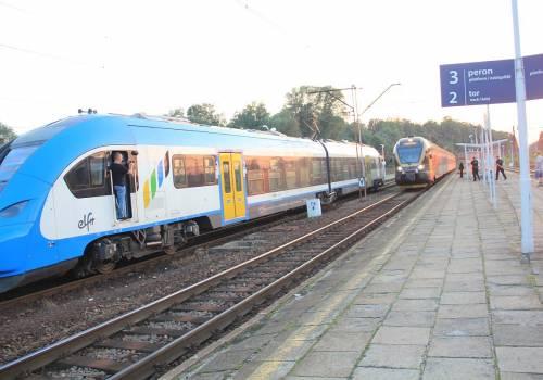 Pociąg Kolei Śląskich na stacji w Zebrzydowicach. Fot: PL