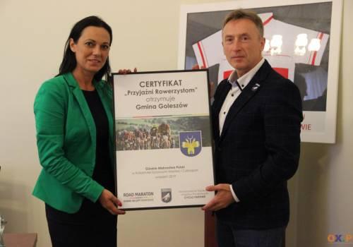 """Gmina Goleszów otrzymała certyfikat """"Przyjaźni Rowerzystom"""" / fot. MSZ"""