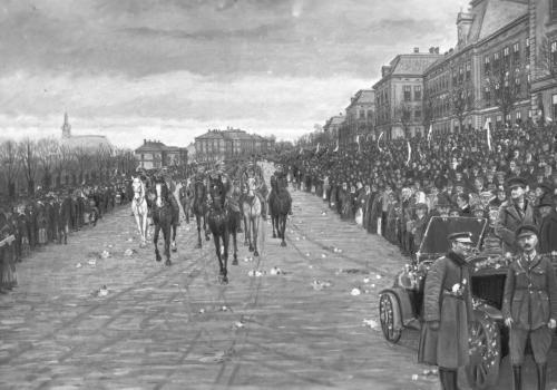 26 lutego 1919 r.: Scena uroczystego wkroczenia wojsk polskich do Cieszyna po rozejmie z Czechosłowacją, która rozegrała się na placu koszarowym w Cieszynie, odmalowana przez artystę Jana Wałacha. Fot. ze zbiorów Narodowego Archiwum Cyfrowego.