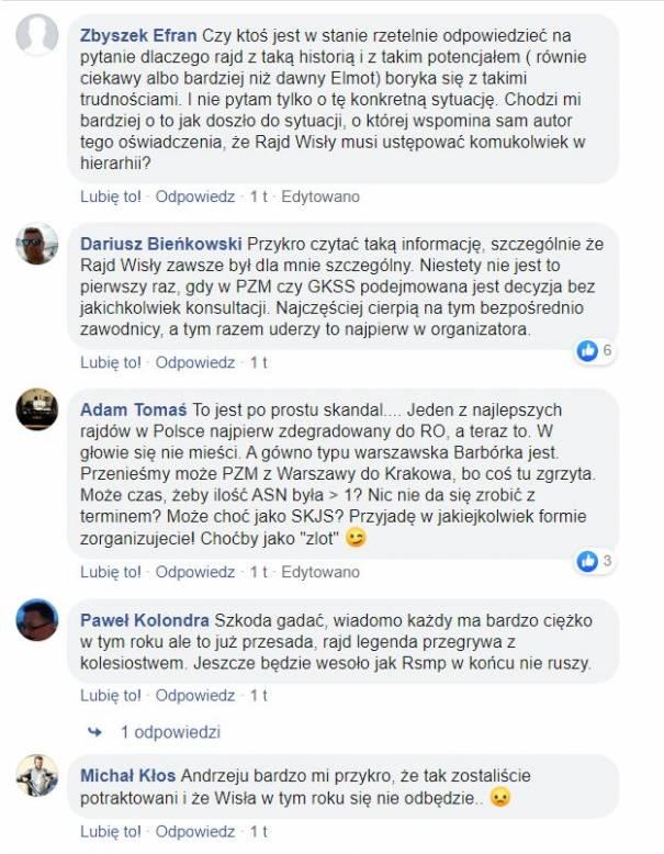Komentarze kibiców pod postem o odwołaniu Rajdu Wisły. Źródło: facebook.com