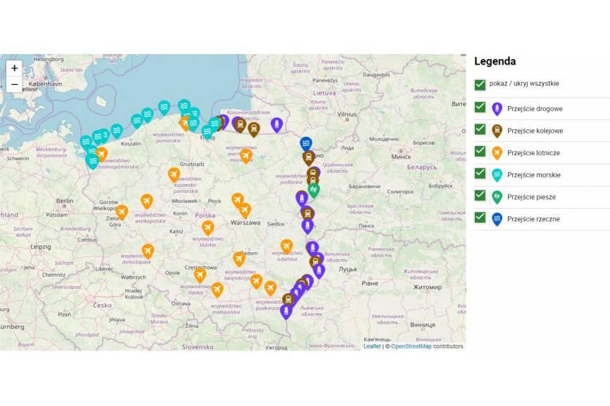 Mapa przejść granicznych / screen ze strony KG Straży Granicznej