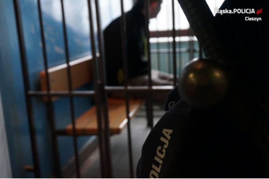 Zatrzymany w areszcie. Fot: KPP w Cieszynie