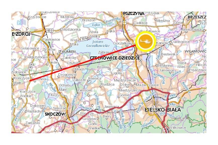 Trasa przelotu LPR zgodnie z danymi geoportalu